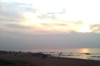 Golden hour at seabeach, Visakhapatnam on a cloudy day